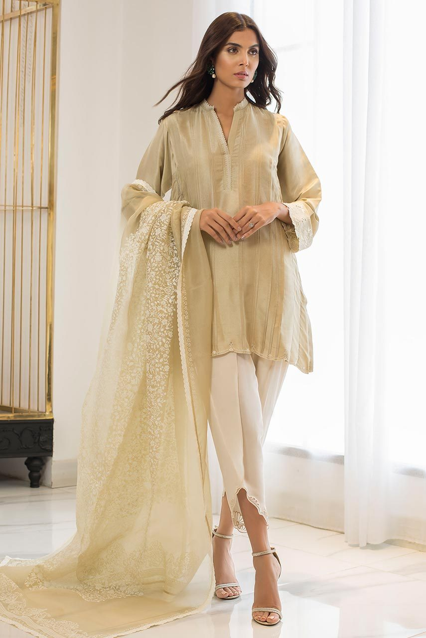 Sania Maskatiya - White Raw Silk Embroidered Kurta - PD19RG009