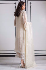 Sania Maskatiya - White Woven Cotton Embroidered Straight Shirt With Dupatta - PD19RG008