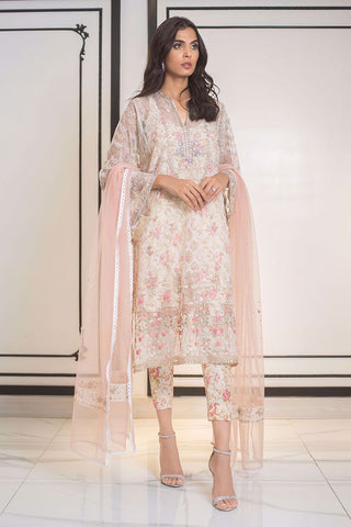 Sania Maskatiya - White Hand Embellished Net Shirt - PD19RG005