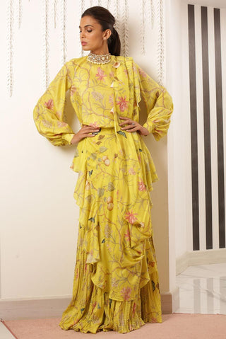 Sania Maskatiya - Yellow Printed Crushed Sari Dress - PD19RG044