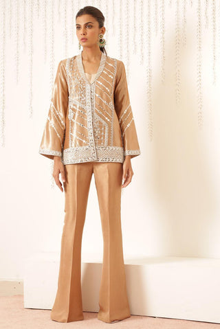 Sania Maskatiya - Brown Embellished Tissue Work Jacket - S-1055