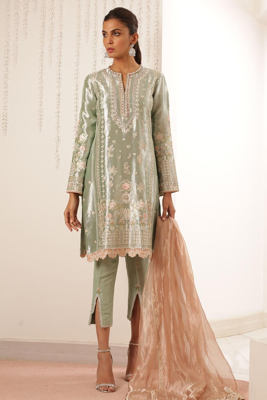 Sania Maskatiya - Green Embroidered Tissue Shirt - PD19RG019