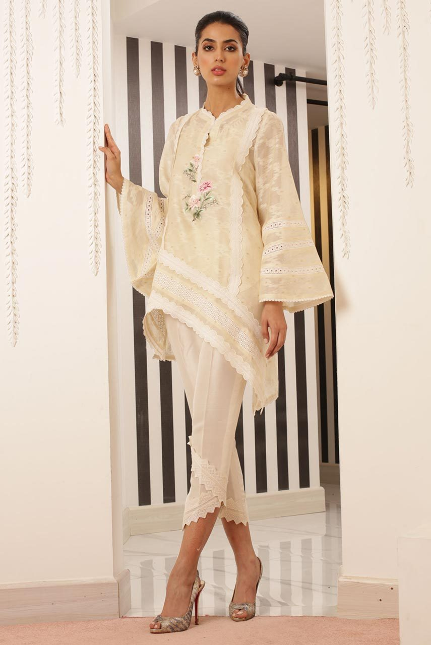 Sania Maskatiya - White Assymetric Cotton Net Embroidered Kurta - PD19RG032