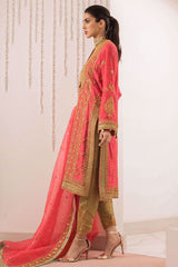 Sania Maskatiya - Pink Marodi Work Cotton Net Kurta With Dupatta - S-1058