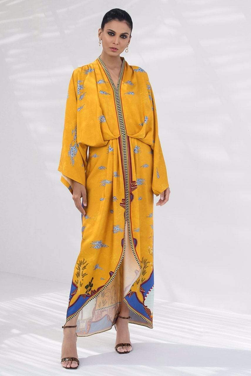 Sania Maskatiya - Yellow Digitally Printed Kimono - PD20RG051