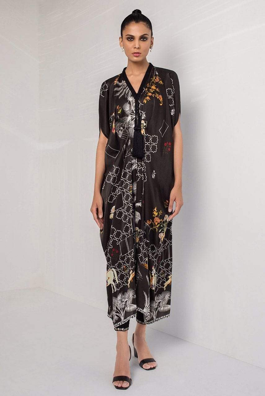 Sania Maskatiya - Black Digitally Printed Kaftan - PD20RG052