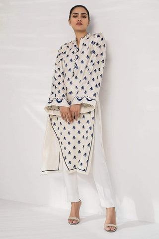 Sania Maskatiya - White Long Kurta With Asymmetric Hemline - PD20RG053