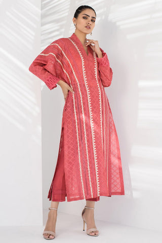Sania Maskatiya - Pink Long Kurta With Batwing Sleeves - PD20RG048