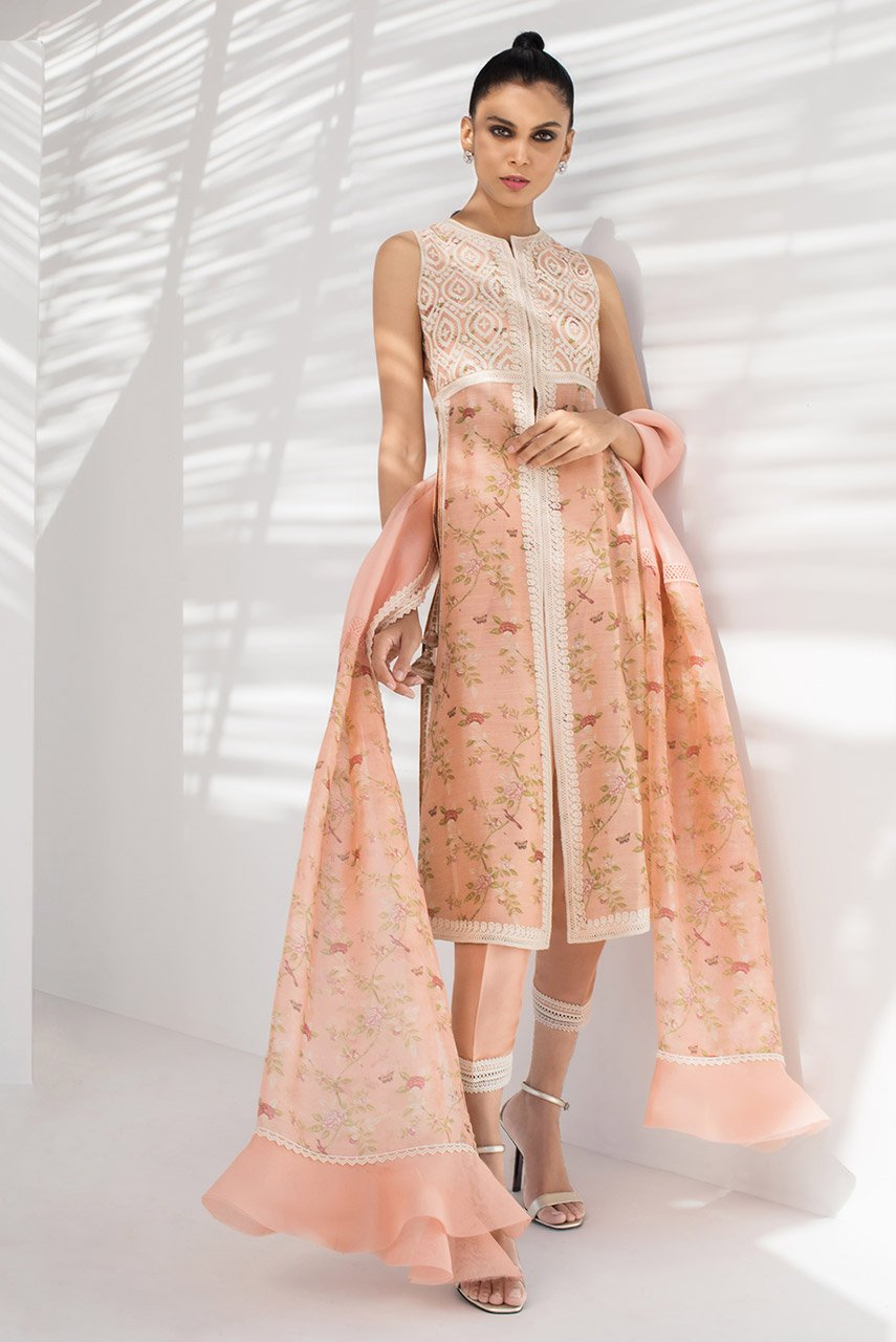 Sania Maskatiya - Pink Front Open Long Kameez With Embroidered Bodice - PD20RG049
