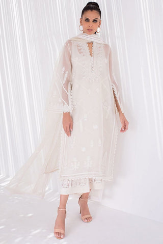 Sania Maskatiya - White Embroidered Organza Kurta and Dupatta - PD20RG063