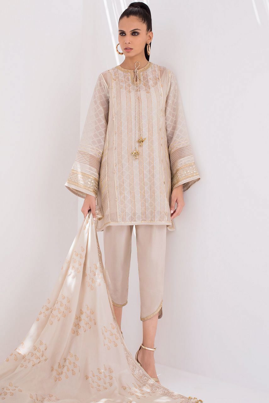 Sania Maskatiya - Brown Block Printed Cotton Net Abha - PD20RG080