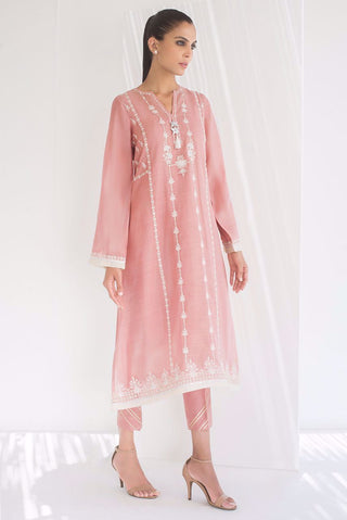 Sania Maskatiya - Pink Embroidered Long Kurta - PD20RG077