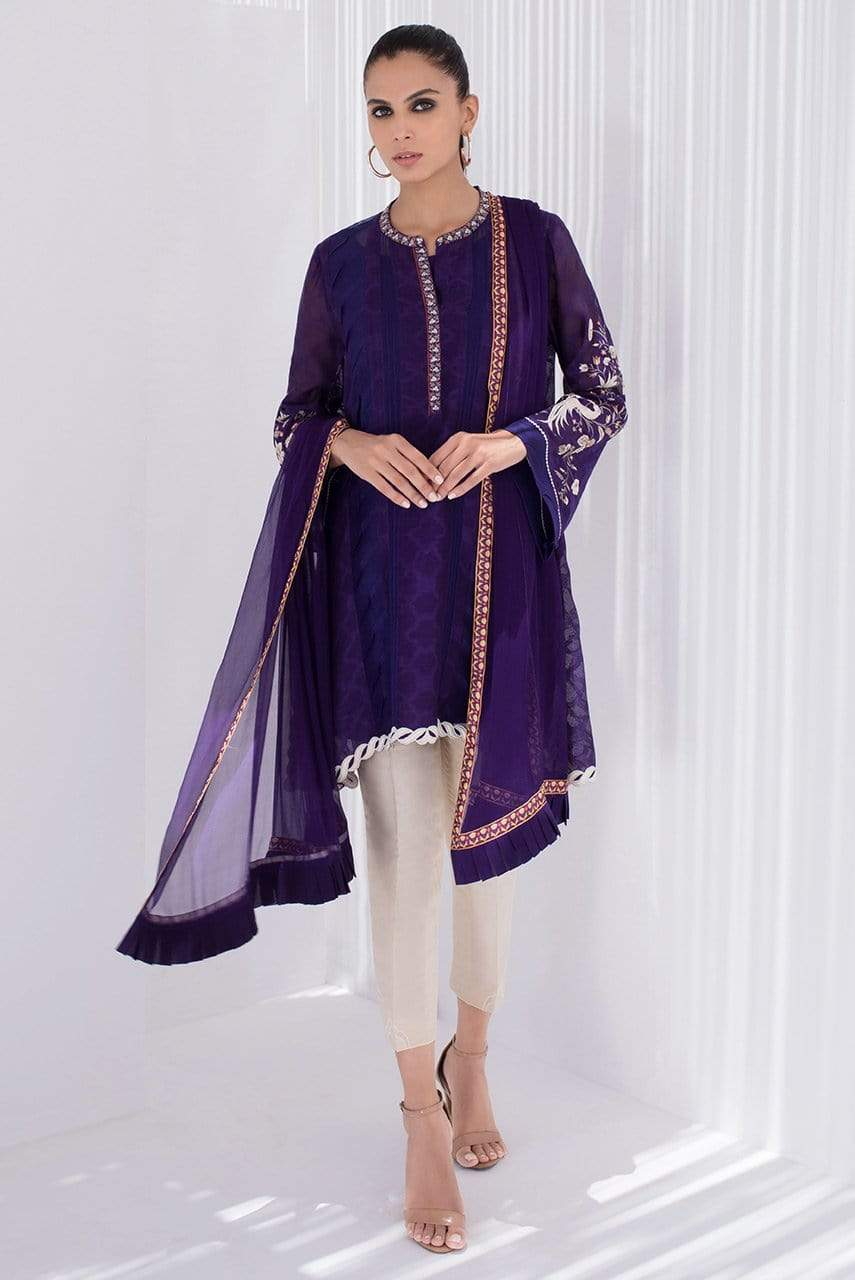 Sania Maskatiya - Purple Embroidered Cotton Net Kurta - PD20RG067
