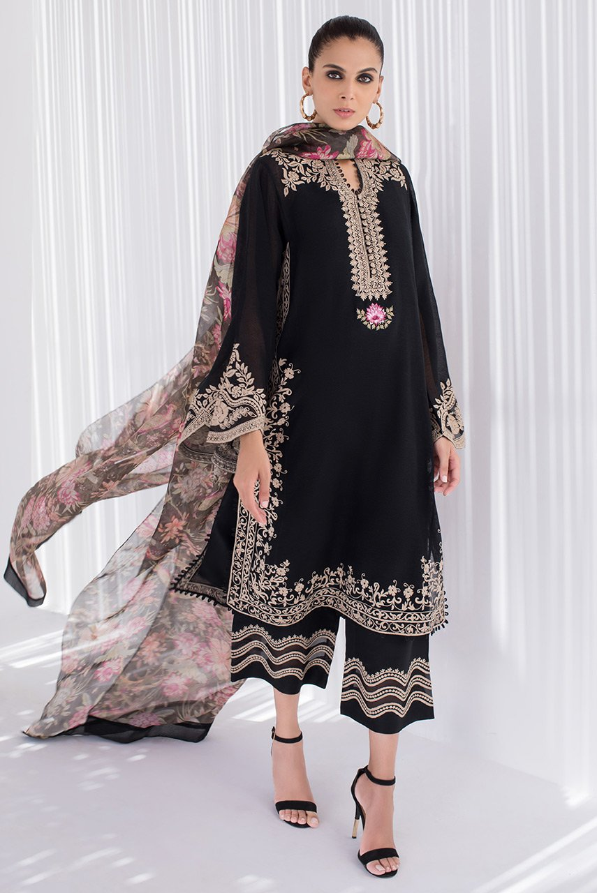 Sania Maskatiya - Black Woven Cotton Embroidered Shirt - PD20RG085