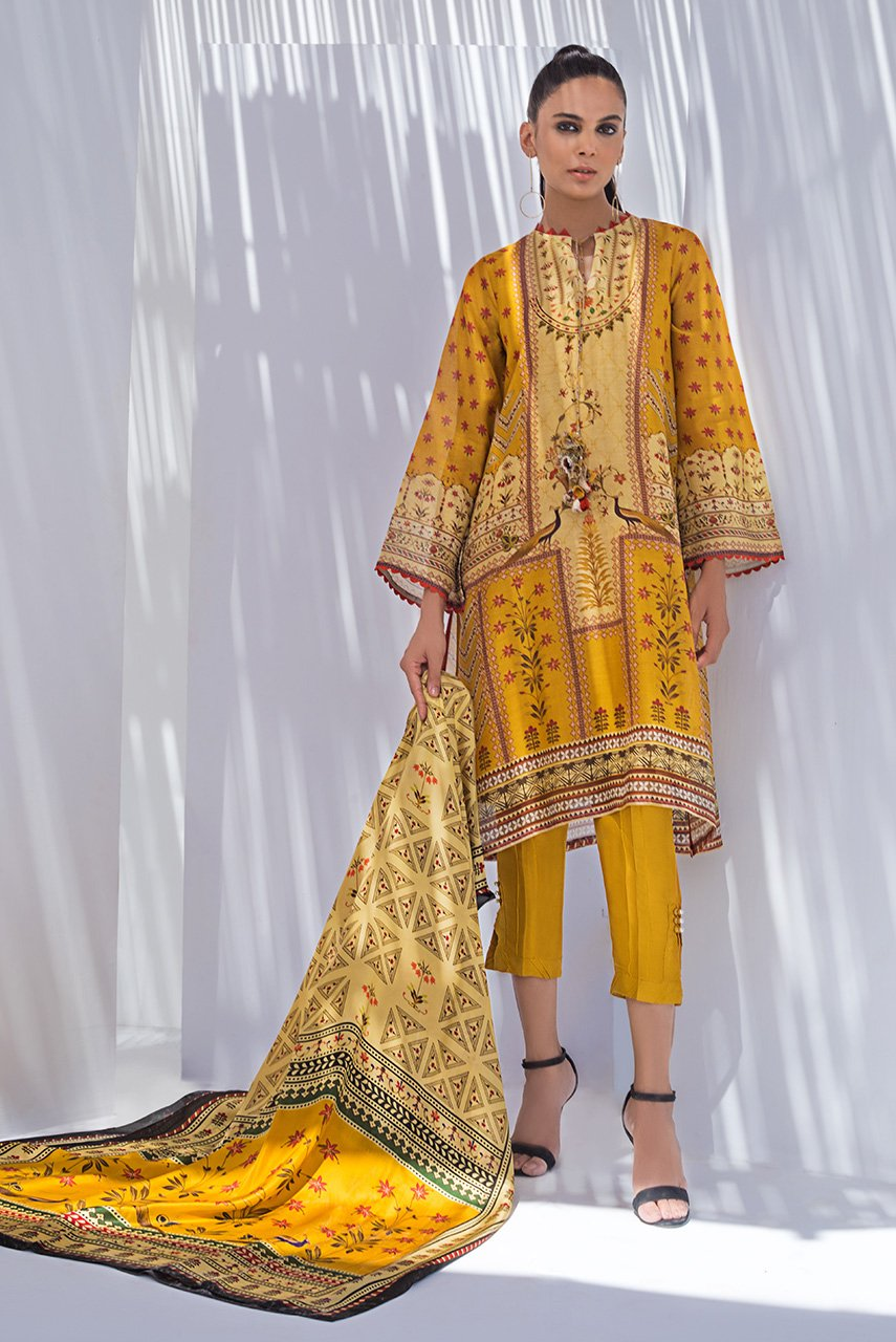 Sania Maskatiya - Yellow Cotton Net Printed Long Kurta - PD20RG103