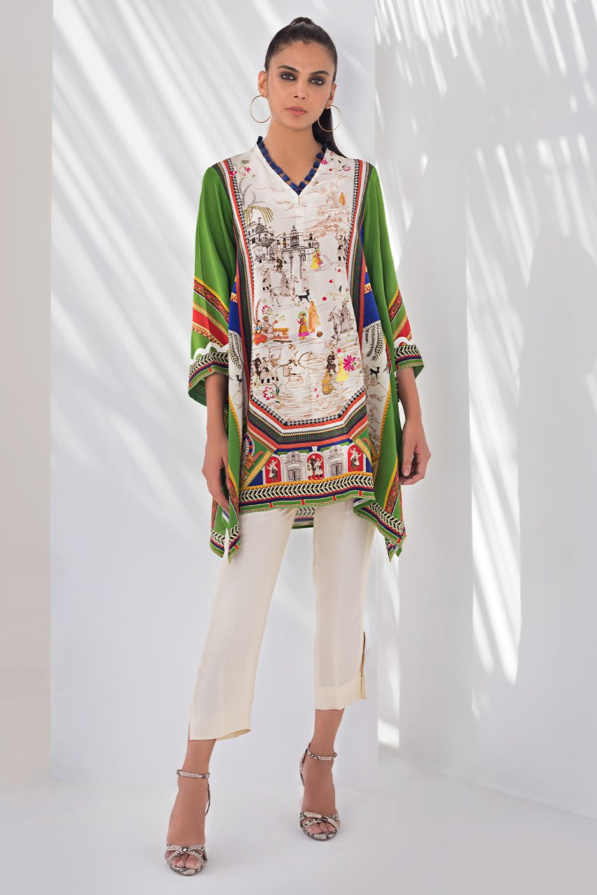 Sania Maskatiya - Green Digitally Printed Crepe Kurta - PD20RG110