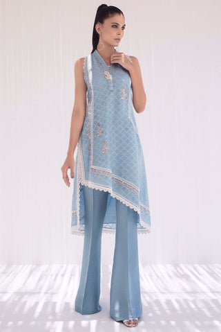 Sania Maskatiya - Blue Block Printed Cotton Net Kurta - PD20RG106