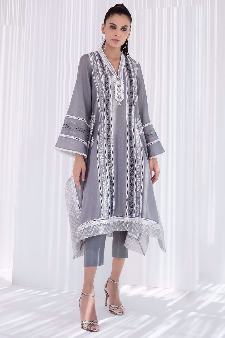 Sania Maskatiya - Grey Box Cut Block Printed Kurta - PD20RG104