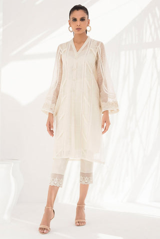 Sania Maskatiya - Crème Woven Cotton Kurta With Detailing - PD20RG095