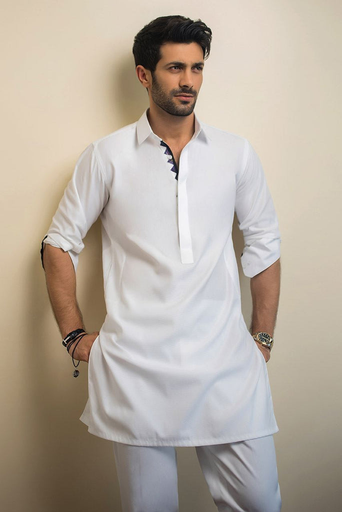 Sania Maskatiya - Self Printed White Cotton Kurta