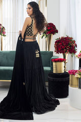 Sania Maskatiya - Ebony Velvet Choli And Lehnga - SHR-20-19