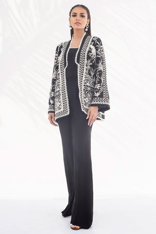 Sania Maskatiya - Onyx Raw Silk Short Jacket - PD20RG220