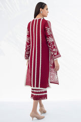 Sania Maskatiya - Ruby Red Raw Silk Shirt - PD20RG221