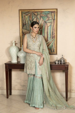 Yasmin Zaman - Mint Blue Zari Net Shirt and Dupatta with Net Lehnga - B-227