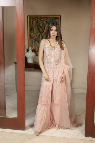 Yasmin Zaman - Rose Pink Chiffon Shirt and Lehnga with Organza Dupatta - F-196