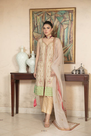 Yasmin Zaman - Beige Mysore Net Shirt with Jamawar Pants and Organza Dupatta - F-177