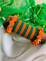 Hemos Handicraft - Orange Turquiose Floral Bangles - 05_OT_FB