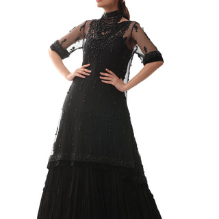 Rizwan Beyg - Bias-Cut Black Dress In Net