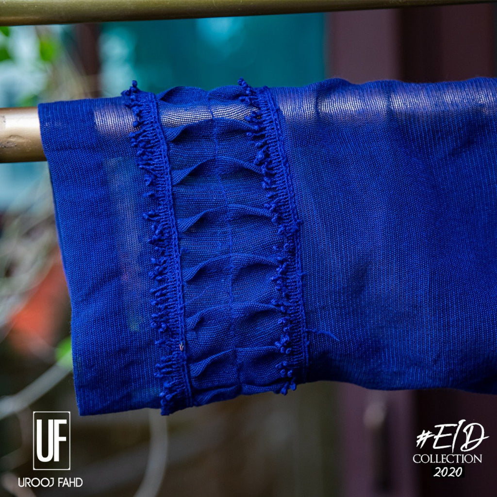 Urooj Fahd - Ink Blue Cotton Net Embroidered - 2 PC