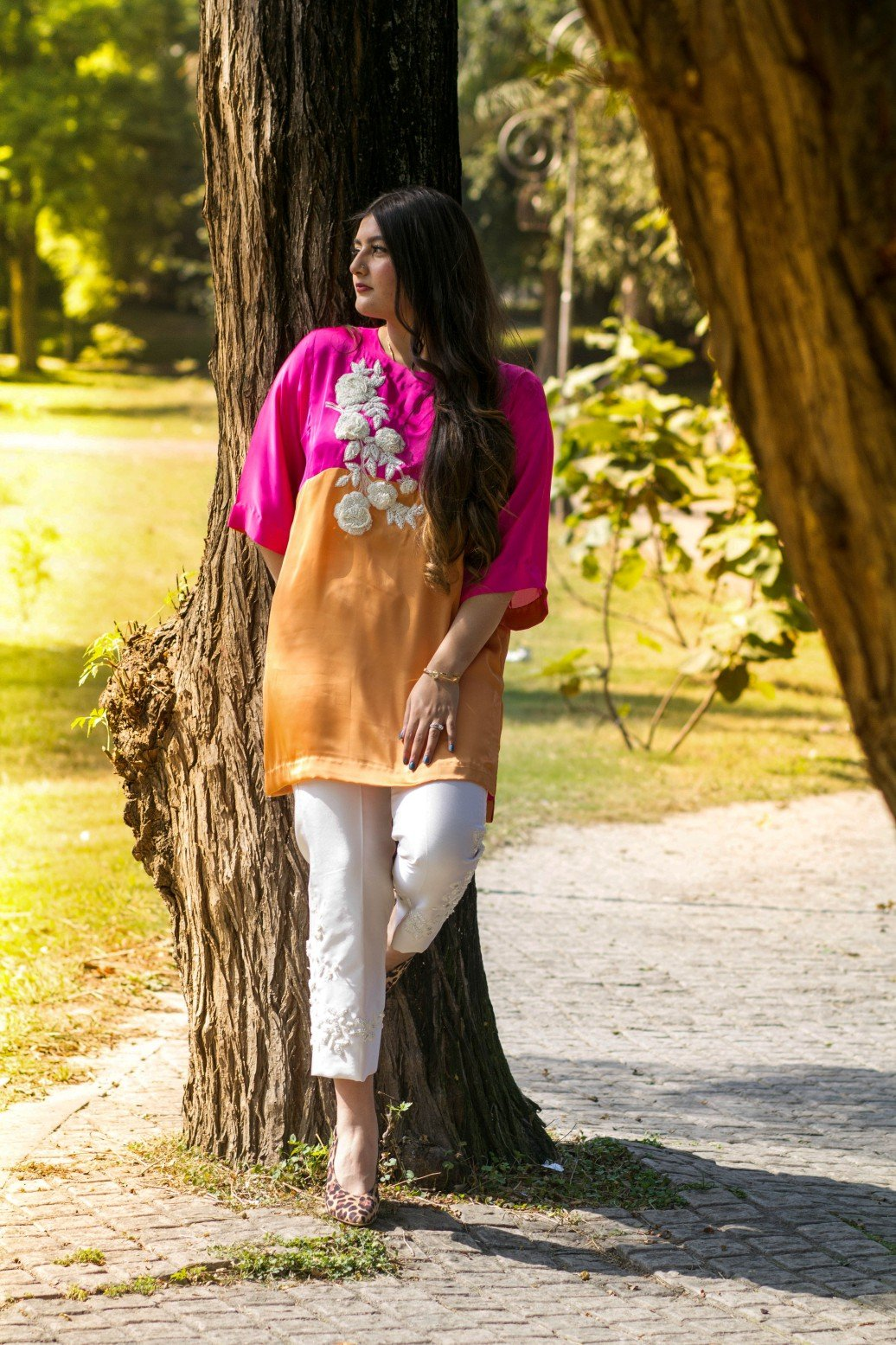 Dilaawaiz by Sahar - Pink and Orange - ENS-010