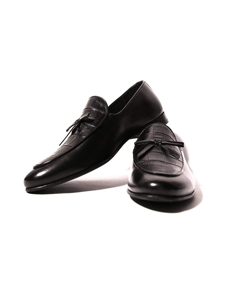 Mochi Cordwainers - Black Croc tie slipon