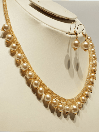Designs By Amina - Pearl Necklace Set In Champagne