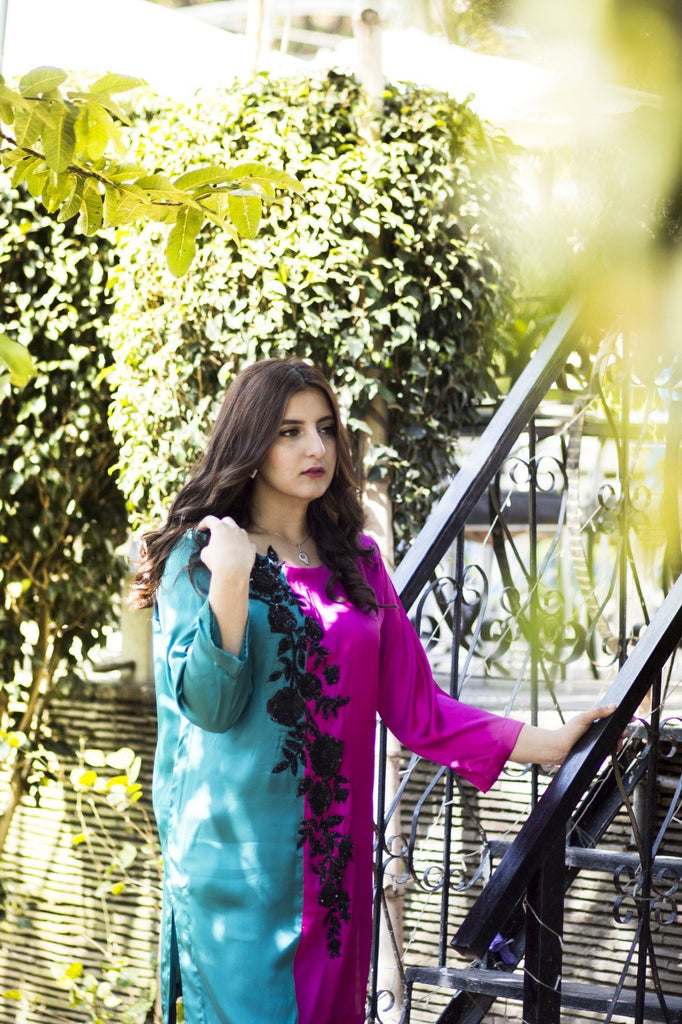 Dilaawaiz by Sahar - Pink and Dark Sea Green - ENS-011