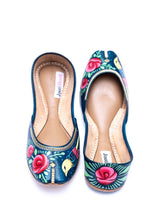 JootiShooti - Hand Painted Macaw Sea Green Khussa