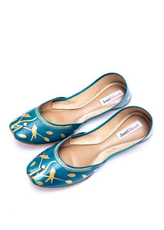 JootiShooti - Hand Painted Gold Silhouette Sea Green Khussa