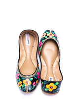 JootiShooti - Hand Painted Bright Floral Painted Black Khussa