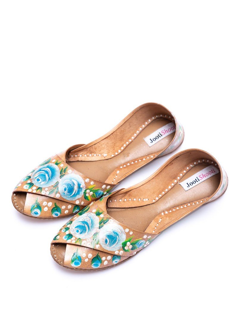 JootiShooti - Hand Painted English Blue Florals Peep Toe