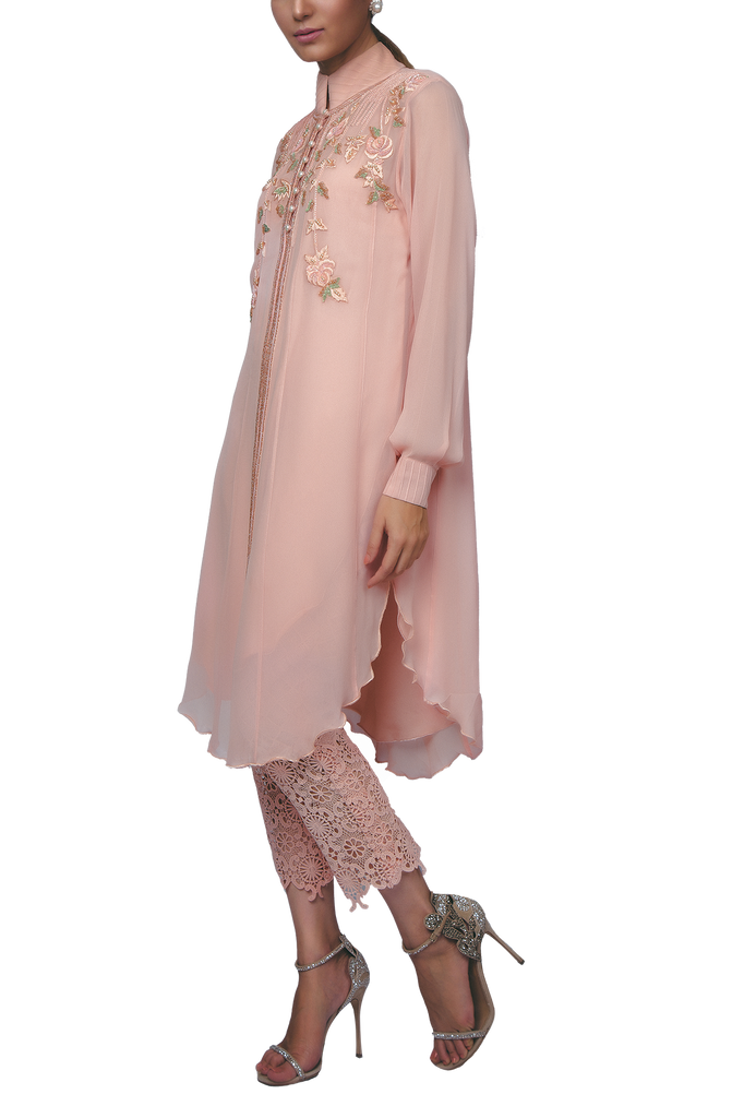 Sanam Chaudhri - Peachy Pink Handcrafted Chiffon Shirt With Crochet Lace Narrow Pants