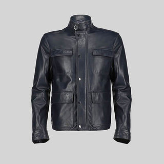 Novado - Mens Blue Leather Jacket - NMLJ-1448