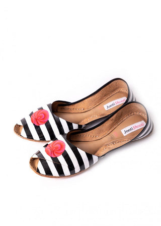 JootiShooti - Hand Painted Monochrome With Pink Flower Peep Toes