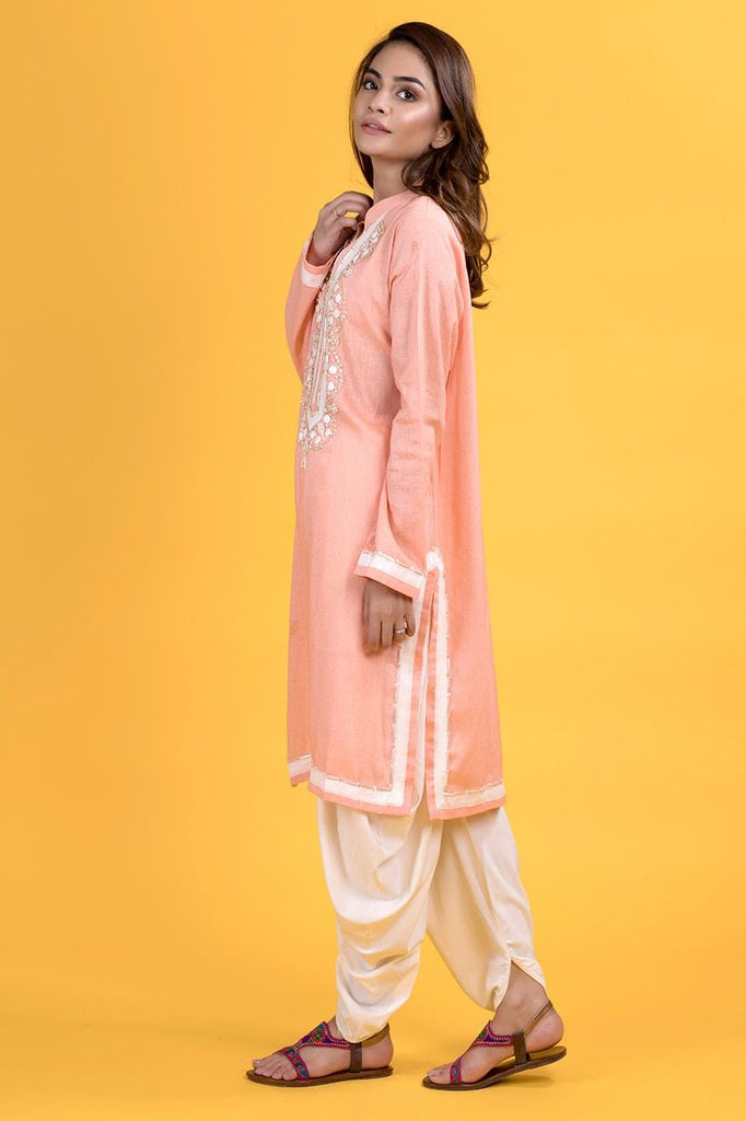 Shehrnaz - Peach Net Shirt
