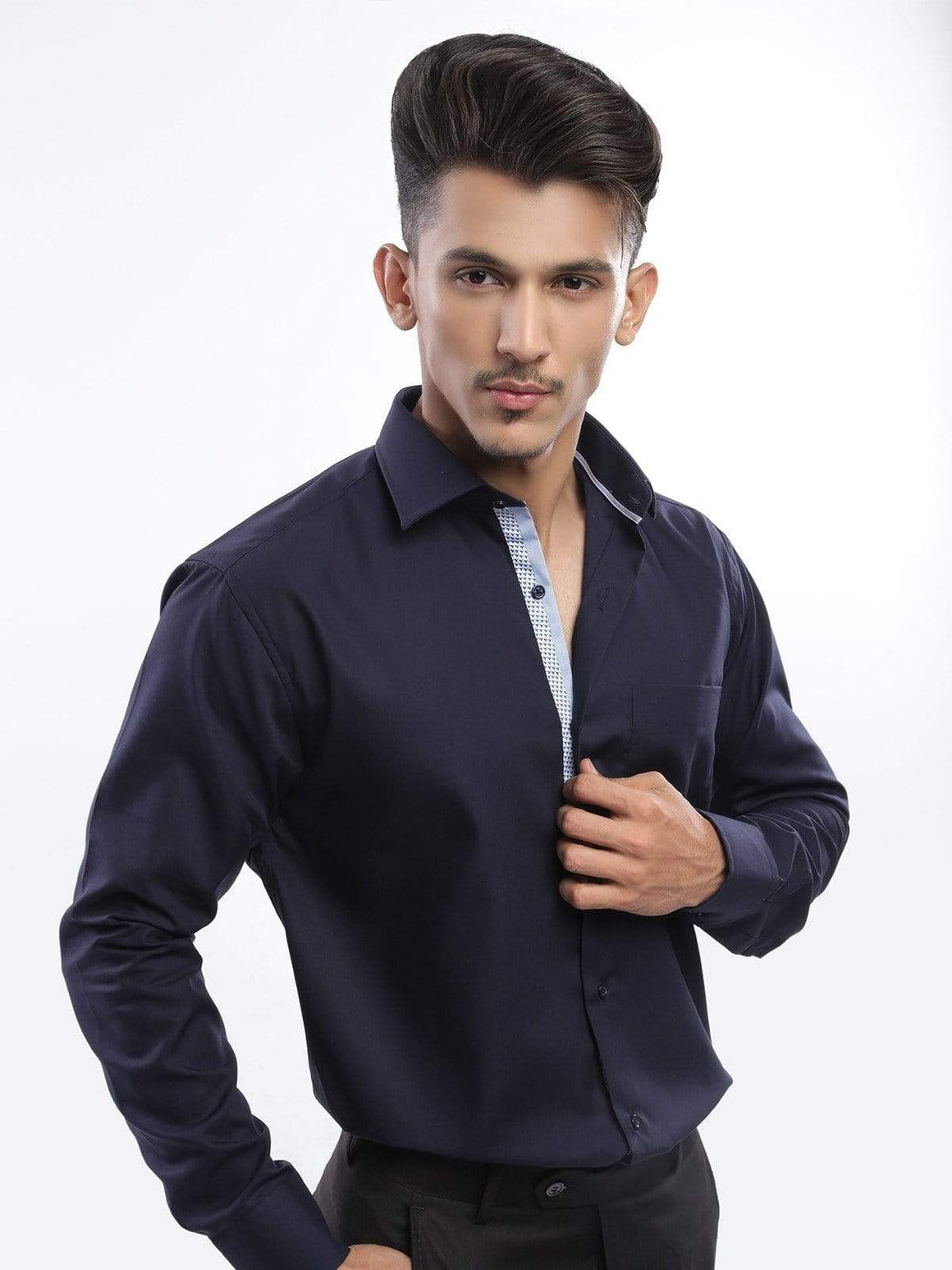The Cress - Navy Blue Designer Formal Shirt