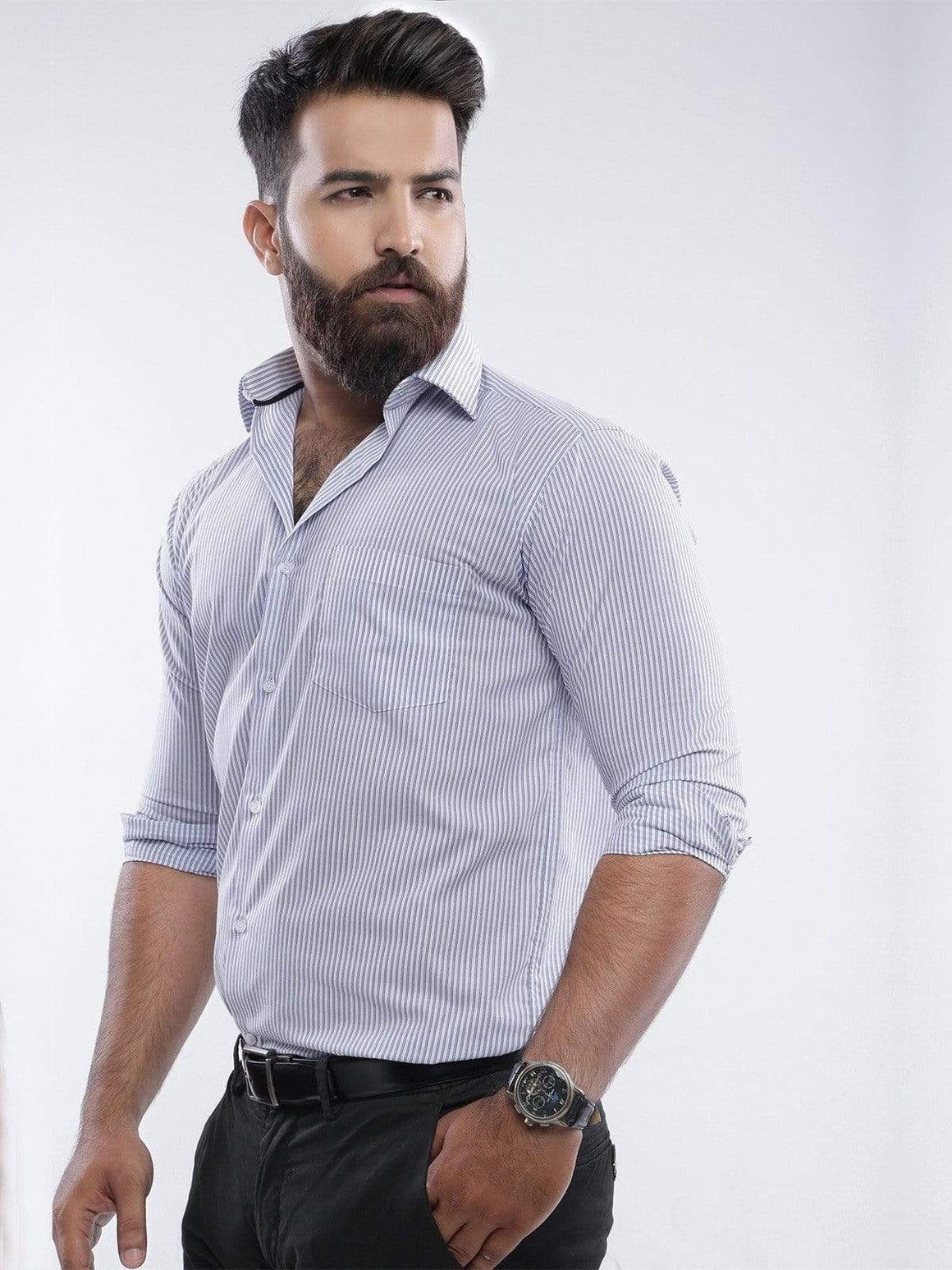 The Cress - Grey And White Striped Dress Shirt