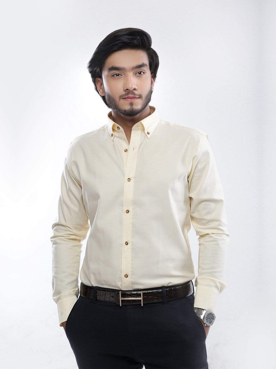 The Cress - Yellow Button Down Collar Formal Shirt