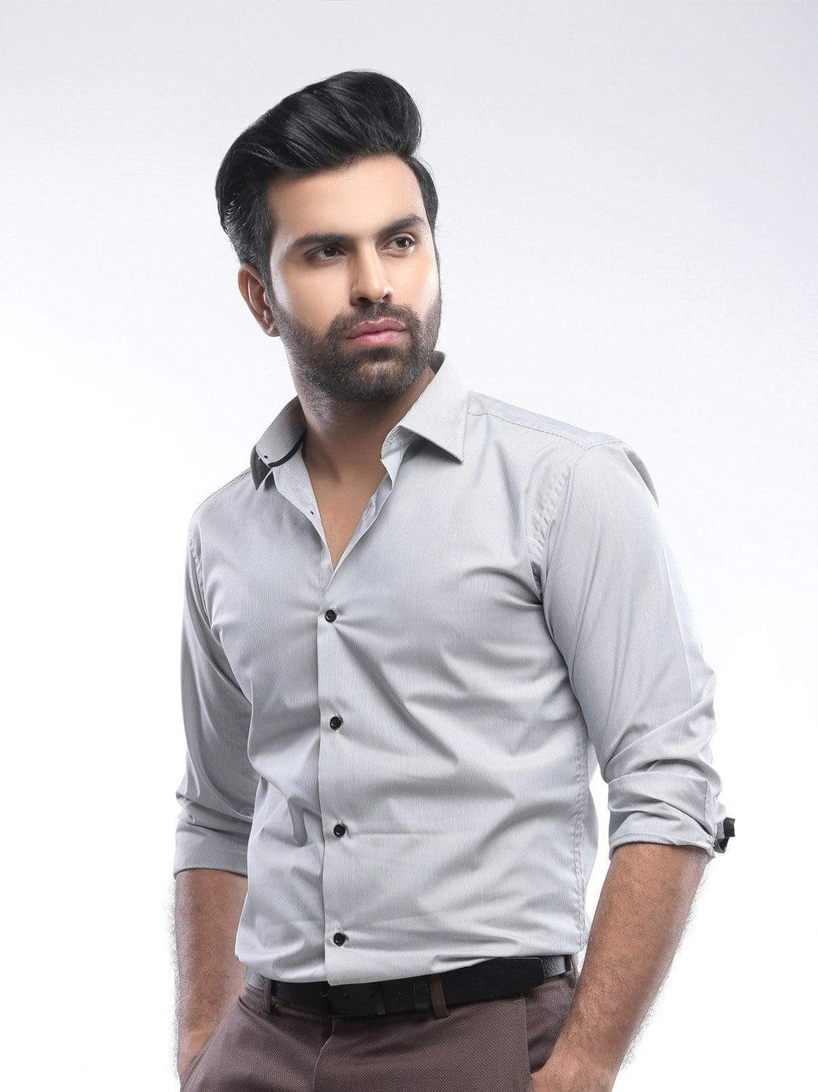 The Cress - Grey And White Stripe Formal Shirt