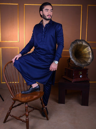 The Cress - Kurta Pajama In Navy Blue